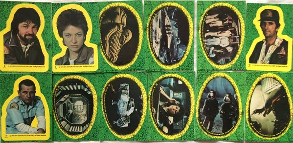 Alien movie 1979 Topps partial set of 12 different sticker cards