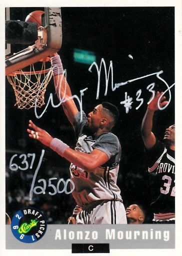 Alonzo Mourning autographed Georgetown 1992 Classic Draft Picks promo card #637/2500