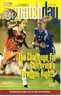 Aly Wagner autographed 2003 WUSA San Diego Spirit program