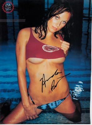 Amanda Beard autographed sexy FHM magazine full page photo