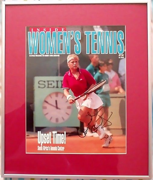 Amanda Coetzer autographed 1992 Women's Tennis magazine cover matted and framed