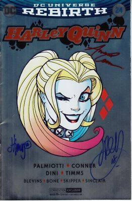 Amanda Conner Jimmy Palmiotti John Timms autographed Harley Quinn 2017 Comic-Con foil variant comic book #24