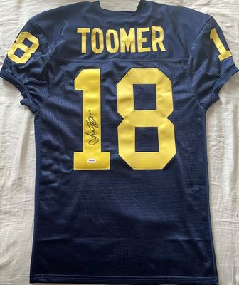 Amani Toomer autographed Michigan Wolverines blue stitched jersey (PSA/DNA)