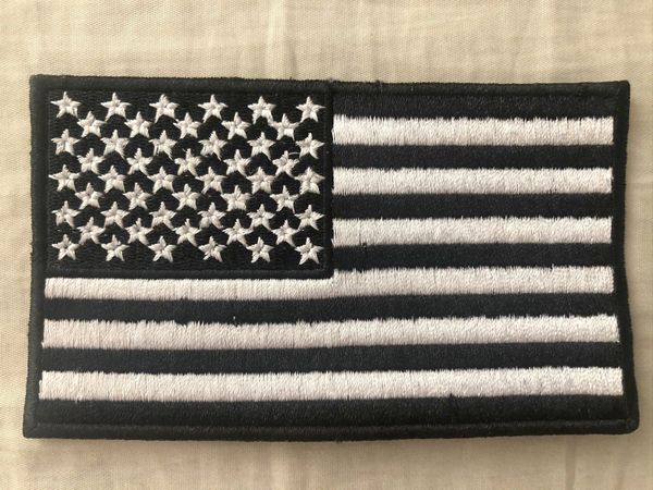 American flag black and white embroidered patch