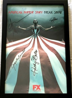 American Horror Story Freak Show cast autographed 2015 Comic-Con poster FRAMED Angela Bassett Kathy Bates Sarah Paulson Evan Peters