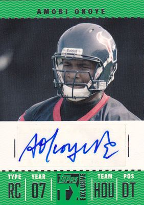 Amobi Okoye certified autograph 2007 Topps Exclusive Rookie Card