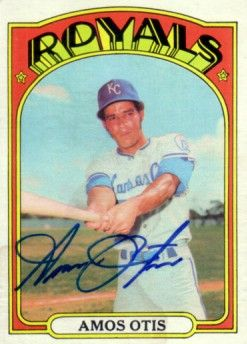 Amos Otis autographed Kansas City Royals 1972 Topps card