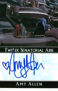 Amy Allen autographed Star Wars Aayla Secura 4x6 photo