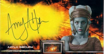 Amy Allen certified autograph Aayla Secura Star Wars Revenge of the Sith Topps Widevision card