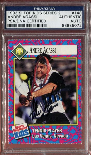Andre Agassi autographed 1993 Sports Illustrated for Kids tennis card (PSA/DNA)