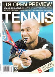 Andre Agassi autographed 2005 Tennis Magazine cover