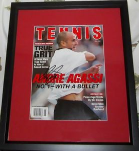 Andre Agassi autographed Tennis Magazine cover matted and framed