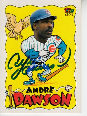 Andre Dawson autographed Chicago Cubs 1992 Topps Kids card