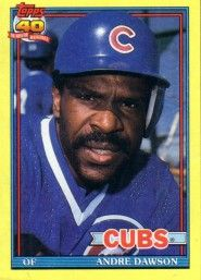 Andre Dawson Chicago Cubs 1991 Topps box bottom card