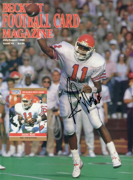 Andre Ware autographed Houston Cougars 1990 Beckett Football magazine cover
