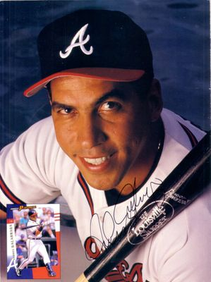 Andres Galarraga autographed Atlanta Braves Beckett Baseball back cover photo