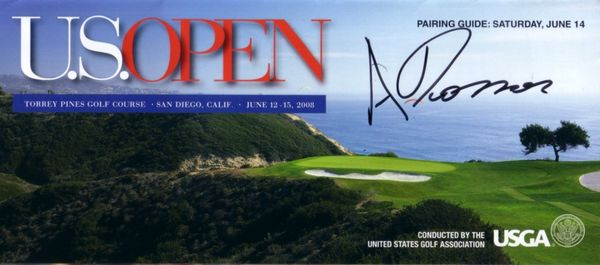 Andres Romero autographed 2008 U.S. Open pairings guide