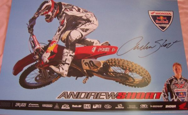 Andrew Short autographed Honda Racing motocross or supercross mini poster