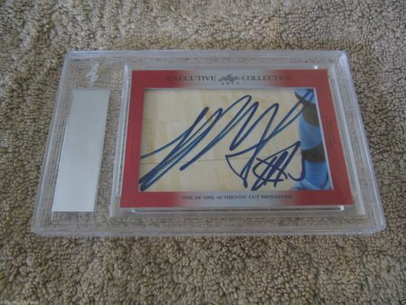 Andrew Wiggins and Shabazz Muhammad 2015 Leaf Masterpiece Cut Signature certified autograph card 1/1
