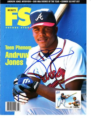 Andruw Jones autographed Atlanta Braves 1996 Beckett Future Stars magazine cover