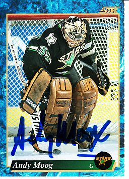 Andy Moog autographed Dallas Stars 1993-94 Score hockey card
