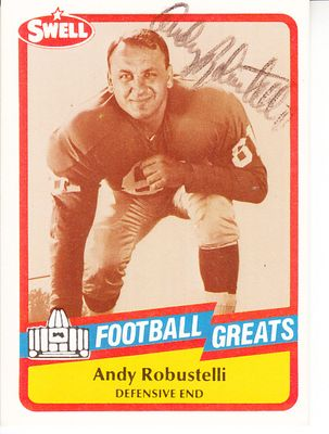 Andy Robustelli autographed 1989 Swell Football Greats Pro Football Hall of Fame card