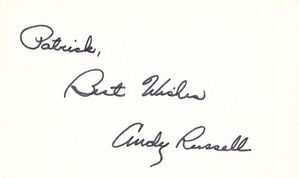 Andy Russell autographed 3x5 index card (inscribed to Patrick Best Wishes)