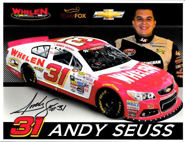 Andy Seuss autographed Whelen Southern Modified Tour 8 1/2 x 11 photo card