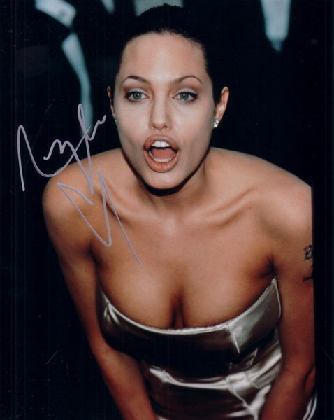 Angelina Jolie autographed sexy 8x10 cleavage photo
