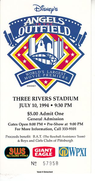 Angels in the Outfield World's Largest Movie Premiere ticket (1994 All-Star Game)