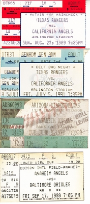Anaheim (California) Angels lot of 4 vintage ticket stubs