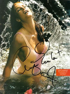 Angie Everhart autographed Sports Illustrated swimsuit issue full page 8x10 photo