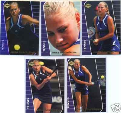 Anna Kournikova 2000 Collector's Edge Rookie tennis card set (5 different)