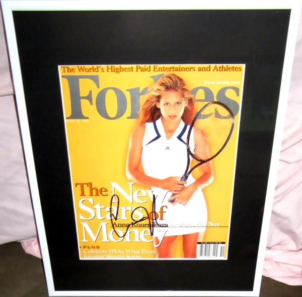 Anna Kournikova autographed Forbes magazine cover matted and framed