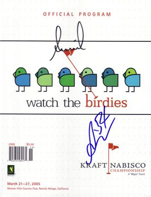 Annika Sorenstam and Ai Miyazato autographed 2005 LPGA Kraft Nabisco Championship golf program