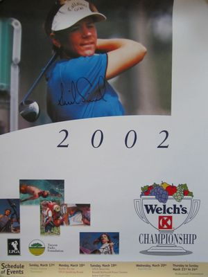 Annika Sorenstam autographed 2002 LPGA Welch's Championship golf poster (rare full name signature)