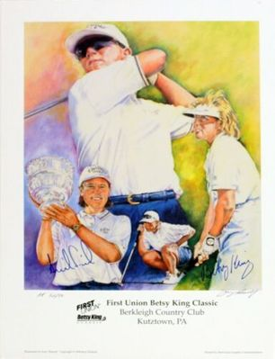 Annika Sorenstam and Betsy King autographed LPGA 18x24 lithograph limited edition 200