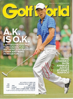 Anthony Kim autographed 2010 Golf World magazine