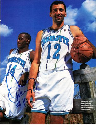 Anthony Mason autographed Charlotte Hornets full page magazine photo