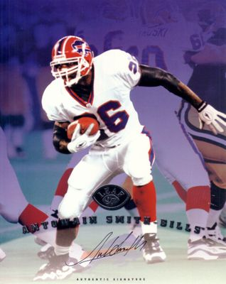 Antowain Smith certified autograph Buffalo Bills 1997 Leaf 8x10 photo card