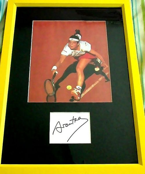 Arantxa Sanchez-Vicario autograph matted and framed with French Open tennis photo