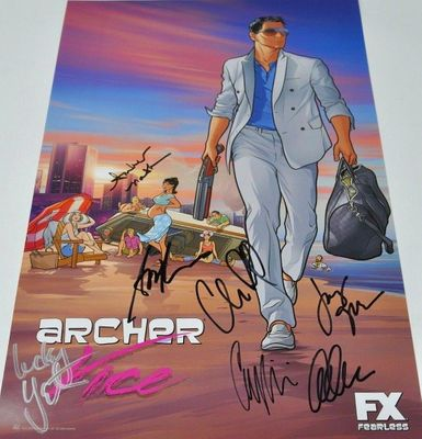 Archer cast autographed 2014 Comic-Con poster (Judy Greer Aisha Tyler Amber Nash Chris Parnell Adam Reed Lucky Yates)