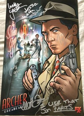 Archer cast autographed 2017 Comic-Con poster (H. Jon Benjamin Aisha Tyler Amber Nash Jessica Walter Lucky Yates Judy Greer)