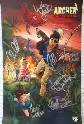 Archer cast autographed 2018 Comic-Con poster (H. Jon Benjamin Amber Nash Chris Parnell Jessica Walter)