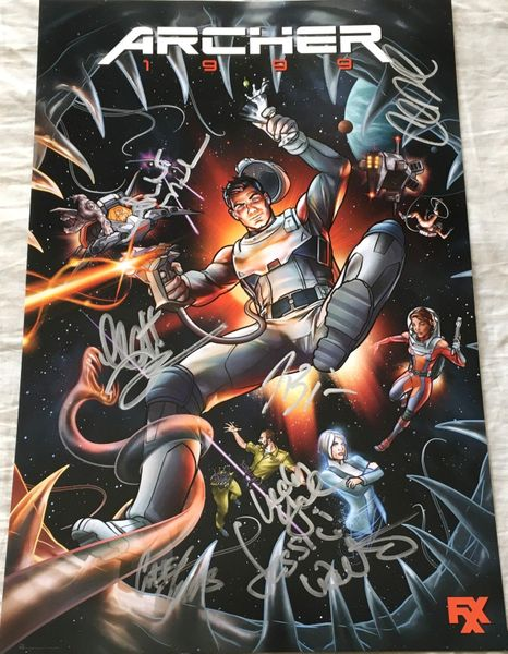 Archer cast autographed 2019 Comic-Con poster (H. Jon Benjamin Amber Nash Chris Parnell Jessica Walter Lucky Yates)