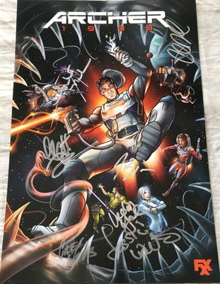 Archer cast autographed 2018 Comic-Con poster (H. Jon Benjamin Amber Nash Chris Parnell Jessica Walter Lucky Yates)