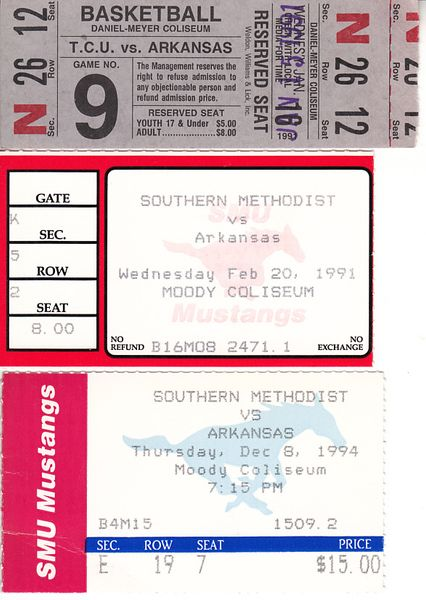 Arkansas Razorbacks basketball lot of 3 vintage road game victory ticket stubs