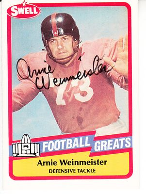 Arnie Weinmeister autographed 1989 Swell Football Greats Pro Football Hall of Fame card