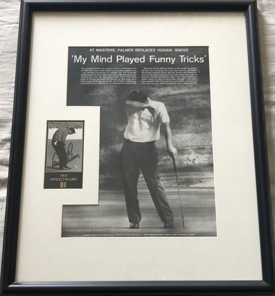 Arnold Palmer autographed 1960 Masters Champion card matted and framed with golf magazine photo