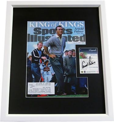 Arnold Palmer autographed 2001 Upper Deck Golf Legends card framed with Sports Illustrated tribute cover